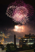 Edinburgh Cityscape with fireworks over The Castle — Stock Photo