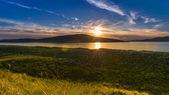 Gorgeous sunset on the beach. Luskentyre, Isle of Harris, Scotland — Stock Photo