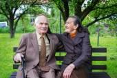 Söta 80 plus år gammal gift par poserar för ett porträtt i deras trädgård. Love forever koncept. — Stockfoto