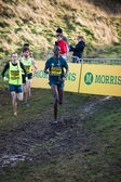 EDINBURGH, SCOTLAND, UK, January 10, 2015 - elite athletes compete in the Great Edinburgh Cross Country Run event, with Asbel Kiprop in the lead. — Stock Photo