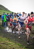 EDINBURGH, SCOTLAND, UK, January 10, 2015 - elite athletes compete in the Great Edinburgh Cross Country Run. This Men's 8k race was won by last year's champion Chris Derrick. — Stock Photo