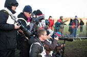 EDINBURGH, SCOTLAND, UK, January 10, 2015 - various press photographers at the Great Edinburgh Cross Country Run event. — Stock Photo