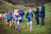 EDINBURGH, SCOTLAND, UK, January 10, 2015 - Fionnuala Britton leading the Woman's 6k race at the Great Edinburgh Cross Country event. — Stock Photo
