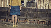 Unrecognizable girl and retro vintage suitcase, travel concept, change and move concept, dark mood unusual image — Stock Photo