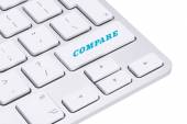 Computer keyboard enter button with word compare — Stock Photo