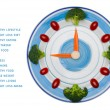 Food clock with vegetables, Healthy food concept, isolated on white background with copy space — Stock Photo #63995161