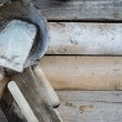Set of old used masonry tools on a rough wooden surface — Stock Photo #70782365