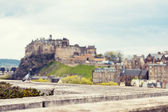 Edinburgh including the Castle cityscape with dramatic skies — Stock Photo