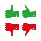 Icons thumbs  up and down, vector illustration — Stock Vector