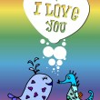 Valentine, the heart of bubbles, cartoon fish in the sea, I love you, postcard for 14 February — Stock Vector #62537779