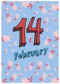 Valentine, greeting card for Valentine's day, heart background, anatomical cartoon heart, congratulation, 14 February — Vetor de Stock