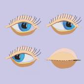 Vector cartoon eyes, closed eyes, Seth — Stock Vector