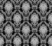 Royal wallpaper. Damask seamless floral pattern. Flowers on a black background — ストックベクタ