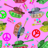 No war, seamless pattern. hippie background. world peace — Vector de stock