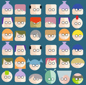 Faces Circle Icons Set  — Stock Vector