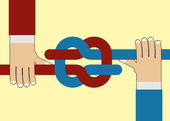 Hand tighten the knot. — Stock Vector