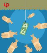 First among competitors. Money on a hook. Fish and money. hand i — Stock Vector