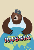 Russian bear soldier in ear flaps and a t-shirt. Keeps paws over — Stock Vector