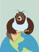 Bear from Russia. In ear flaps, playing the balalaika. Earth pla — Stock Vector