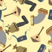 Ornament Russia. Balalaika, Samovar, Ushanka, accordion. Seamles — Stock Vector
