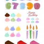 Happy birthday set. Cake, candles, figures. — Stock Vector #66585519
