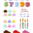 Happy birthday set. Cake, candles, figures. — Stock Vector #66585519