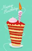 Birthday cake. High cake. Happy birthday postcard — Stock Vector