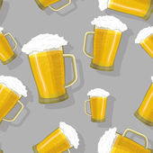 Seamless pattern beer mug — Stock Vector