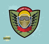 Paintball logo emblem. paintball guns and Wings. Mortal Heraldry — Stock Vector