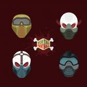 Set paintball evil  mask. skull Mortal paintball — Stock Vector