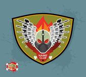 Logo paintball club. Mortal paintball. Guns and mask. — Stock Vector