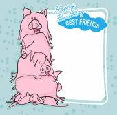 Happy Birthday. Bunch of pigs. Best friends forever. Greeting ca — Stock Vector