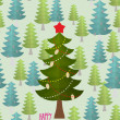 Christmas tree in forest. Greeting card for Christmas and new ye — Stock Vector #70018861