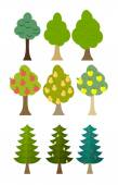 Set Tree icon fruit trees, conifers, forest trees. Vector illust — Wektor stockowy