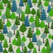 Seamless forest pattern. Cartoon tree. — Stock Vector