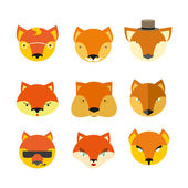 Set foxes. Vector  muzzle  different nature — Stock Vector