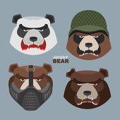 Wild angry bears set. Angry Panda bear in a military helmet, bea — Stock Vector