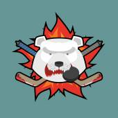 Bear Hockey Logo. Vector illustration — Stock Vector