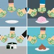 Set money and hands. Selling and buying a House, brains, shit. — Stock Vector #71620543