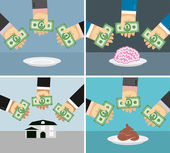 Set money and hands. Selling and buying a House, brains, shit.   — Stock Vector