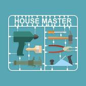 Plastic model kits Construction tools. House master — Stok Vektör