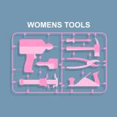 Pink tools. Set for women. plastic model kits for blondes. Vecto — Stok Vektör