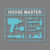 Construction tools Plastic model kits. Set for men-House master — Stok Vektör