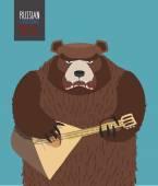 Bear was playing the balalaika. Russian national musical instrum — Vector de stock