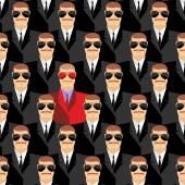 Secret agents. A spy among agents. Seamless pattern pepople — Stock Vector