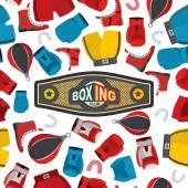 Boxning Seamless mönster, sport bakgrund. Utrustning för boxning: gl — Stockvektor