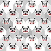 Angry Panda. Seamless vector pattern of ferocious bears. Vector  — Stock Vector