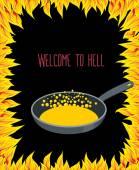Calienta el sartén con aceite hirviendo por los pecadores. llamas del infierno. — Vector de stock