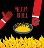 Welcome to hell. Heated frying pan with boiling oil. Hands of De — Stock Vector