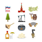 Set of symbols and icons for Russia: the Kremlin and balalaika, — Stock Vector